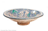 Antique 19th Century Hispano Moresque Majolica Tin Glazed Large Pottery Bowl (Code 1944)