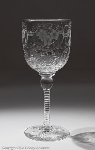 Antique Stevens & Williams Rock Crystal Intaglio Cut Glass Wine Goblet (Code 1951)