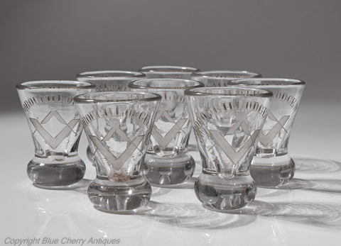 Regency / William IV Rare set of Eight Antique Etched Masonic Firing Glasses (Code 1954)