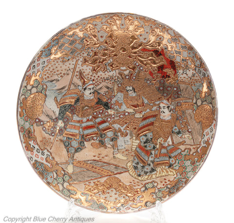 CLarge Glitzy Japanese Antique Satsuma Ware Pottery Dish with Samurai Warriors (Code 1975)