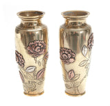 Pair Antique Japanese Meiji Period Mixed Metal Brass Copper & Silver Vases (Code 1985)