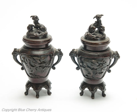 Pair Antique Japanese Meiji Period Patinated Cast Bronze Koro with Foo Dogs (Code 1986)