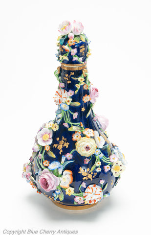 Antique Derby Porcelain Flower Encrusted Bottle Vase, Bloor Period c1830 (Code 1996)