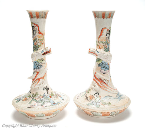Pair Antique Japanese Pottery Satsuma Ware Vases with Dragons & Figures c1900 (Code 2000)