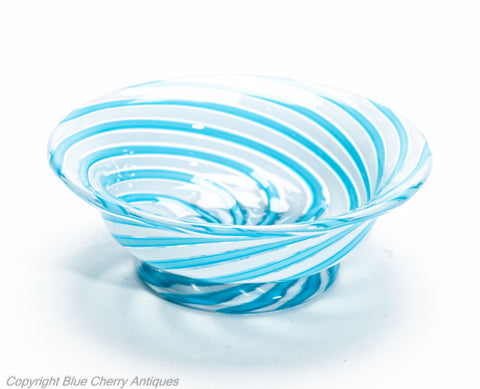 Antique Clichy Swirl Glass Small Bowl in Aqua Blue - French 2nd Empire c1870 (Code 2030)
