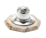 Antique Mappin & Webb Solid Silver & Turkish Willow Onyx Inkwell, London 1912 (Code 2070)