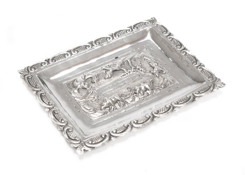 Antique Indian Silver Repousse Rectangular Trinket Dish - Lucknow c1900 (Code 2084)