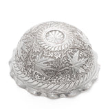 Antique Indian Kashmir Chinar Buen Leaf Silver Plated Repousse Bowl c1880 (Code 2114)