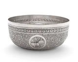 Antique Ceylonese (Sri Lankan) White Metal/Silver Repousse Offering Bowl c1900 (Code 2117)