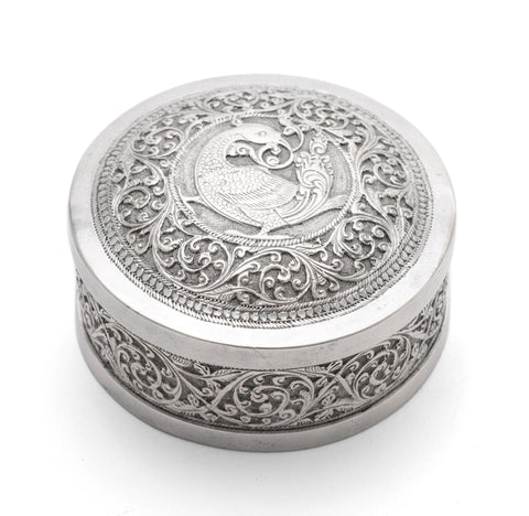 Antique Ceylonese White Metal Repousse Round Betel Nut Box Mythical Bird (Code 0328)