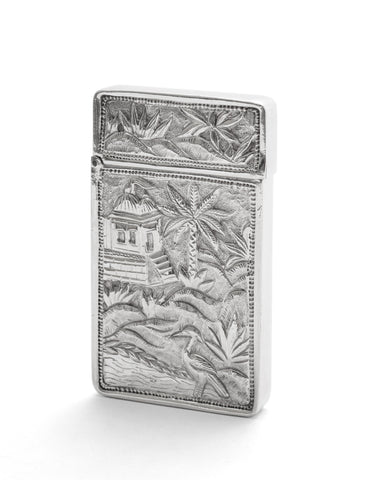 Antique Chinese Cast Silver Pictorial Card Case with Crane, River & Cartouche (Code 2119)