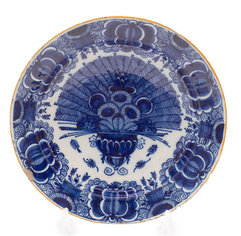 18th Century Dutch Delft De Klauw Peacock Vase Pattern Large Pottery Dish c1770 (Code 2127)