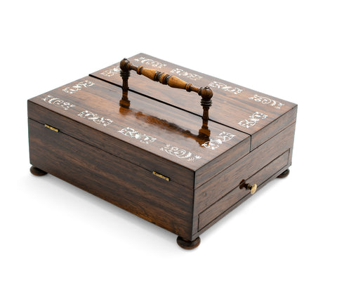 Antique Georgian Regency / William IV Rosewood Portable Writing Box / Inkstand (Code 2150)