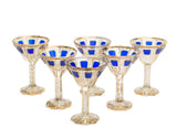 Set of Six Antique Moser Bohemian Overlayed & Gilded Wine / Liqueur Glasses (Code 2159)