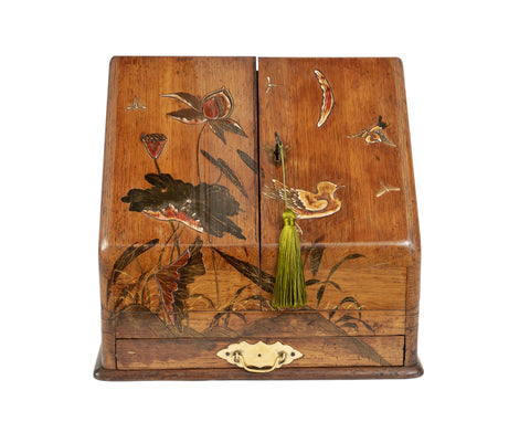 Antique Victorian Wooden Stationery Box with Japanese Shibayama Decoration c1880 (Code 2165)