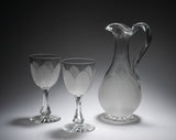 Early Victorian Cut & Frosted Glass Wine Jug Decanter & Goblets by Richardsons (Code 2178)