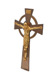 Art Deco Large Gilt Bronze Irish Celtic Cross Wall Hanging Corpus Christi Crucifix (Code 2187)