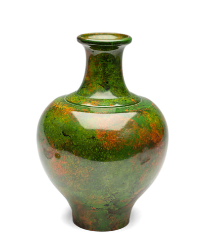 Fine Vintage Japanese Mossy Green Patinated Bronze Ikebana Vase by Shuzan 秀山 (Code 2192)