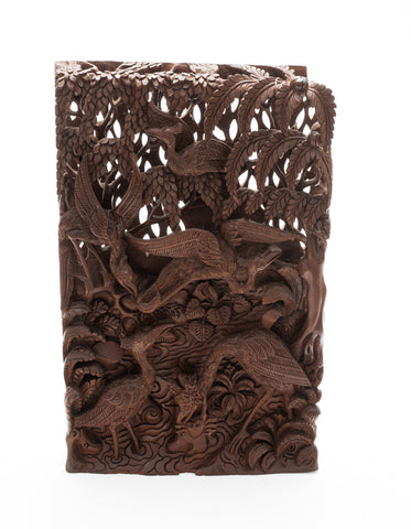 Balinese Carved 3D Wood Panel The Stork & Crab from the Tantri Kamandaka (Code 2206)