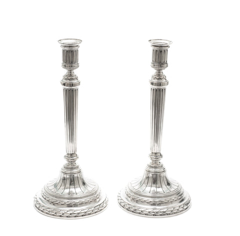 Pair Large Antique Joseph Brems-Varain of Saarbrucken German Silver Candlesticks (Code 2212)