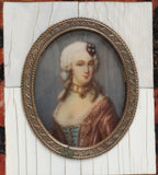 Antique French Portrait Miniature of an Aristocratic Lady In Gilt Metal Mount (Code 2222)