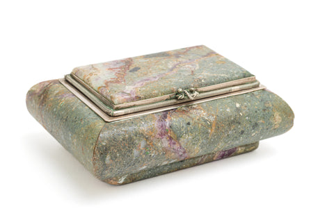 Antique Derbyshire Blue John Veined & Hardstone Jewellery Box c1910 (Code 2224)
