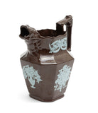 Victorian Relief Moulded Pottery Table Jug with Blue Applique & Ape Head Spout c1870 (Code 2230)