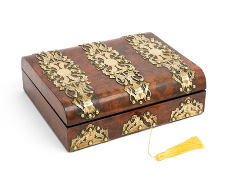 Antique Victorian Gothic Brass Bound Burr Walnut Wood Small Writing Slope Box (Code 2243)