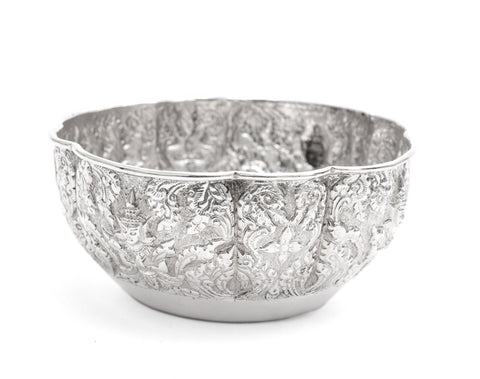 Antique Indian Lucknow Silver Offering Bowl with Hindu Deities c1890 (Code 2245)