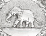 Antique Sri Lankan Hand Made Silver Dish with Repousse Elephant c1900 (Code 2251)