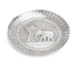 Antique Sri Lankan Hand Made Silver Dish with Repousse Elephant & Palm Tree (Code 2252)