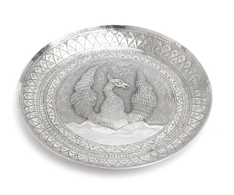 Antique Sri Lankan Hand Made Silver Dish with Repousse Rising Phoenix c1900 (Code 2254)