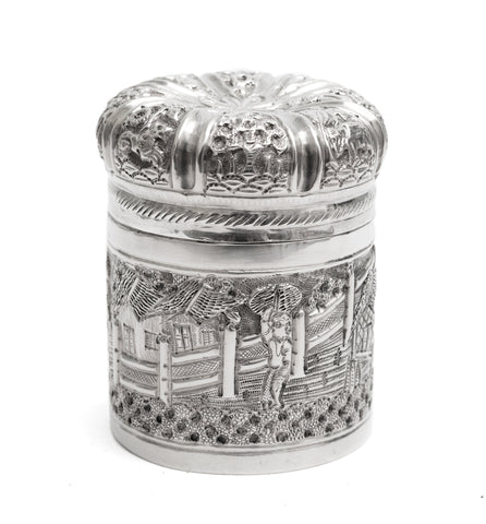 Antique Indian/Ceylonese Silver Repousse Lidded Box with Village Scene c1880 (Code 2258)