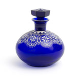 Parád Blue Lace Glass Perfume Scent Bottle - Antique Hungarian Enamelled Design (Code 2267)
