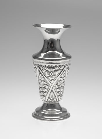 Vintage Egyptian Silver Vase in the Persian Islamic Style with Floral Panels (Code 2295)