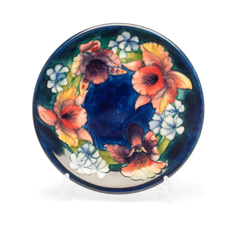 Moorcroft Orchid Pattern Vintage Art Pottery Plate with Cobalt Blue Ground (Code 2300)
