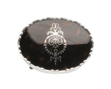 Antique Sterling Silver Ring / Jewel Box with Inlaid Lid & Fabric Lined Interior (Code 2302)