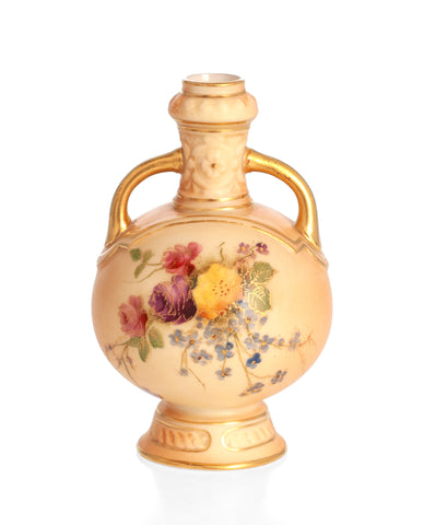 Royal Worcester Antique China Miniature Vase Blush Ivory Ground & Persian Design (Code 2313)