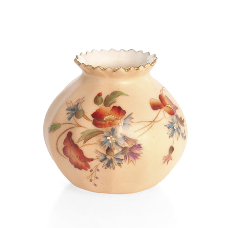 Antique Royal Worcester China Small Blush Ivory Posy Vase with Poppies c1903 (Code 2314)