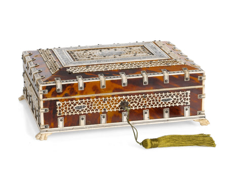 Indian Tortoiseshell & Bone Decorated Jewellery Box Vizagapatam Region c1900 (Code 2319)