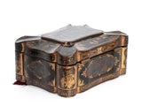 Chinese Antique Tea Caddy Black Lacquer & Gold with Decorative Lead Interior (Code 2320)