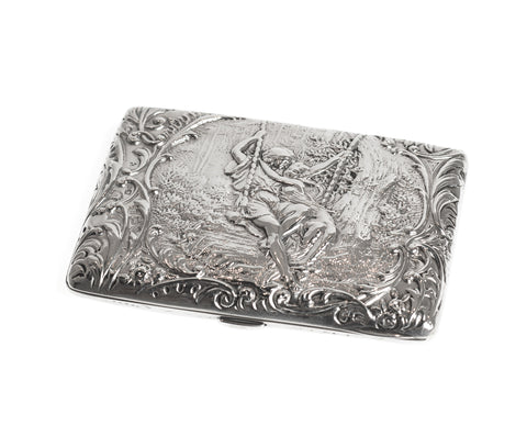 Fine Antique Silver Card Case / Purse Pictorial with Lovers on Swing Silk Lined (Code 2327)