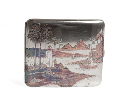 Egyptian Silver Damascene Copper Antique Cigarette Case with Pyramids & Camels (Code 2328)
