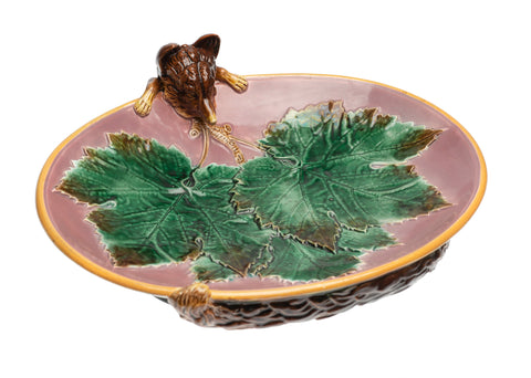 Antique George Jones Majolica Fox Head Strawberry Serving Dish - Victorian c1869 (Code 2376)