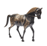 Pair Vintage/Antique Indo-Persian Cast Brass & Etched Arabian Horse Models (Code 2378)
