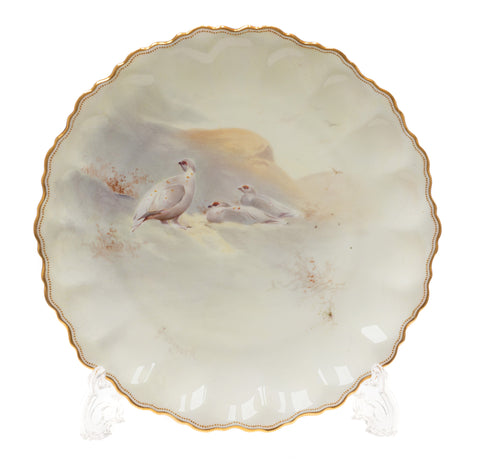 Royal Doulton Cabinet Plate Ptarmigan in Scottish Highlands - Antique c1892 (Code 2381)