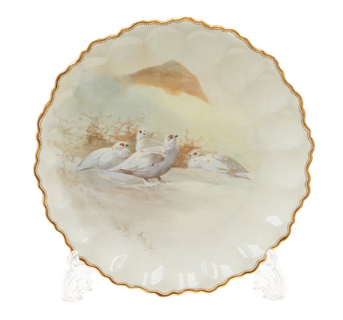 Royal Doulton Joseph Hancock Ptarmigan Hand Painted Plate - Antique 1892 (Code 2382)