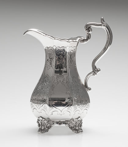 Antique Early Victorian Solid Silver Milk Jug with Chased Design, London 1851 (Code 2386)
