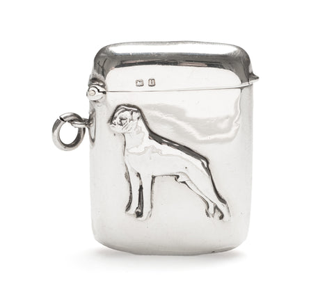 Silver Vesta Case with Bulldog - Antique Solid Sterling Silver Birmingham 1919 (Code 2391)