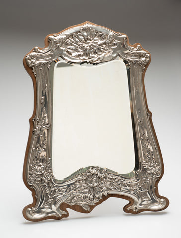 Antique Art Nouveau Silver Dressing Table Mirror - Easel Back & Oak Frame 1906  (Code 2392)